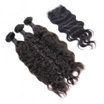 Malaysian virgin unprocessed natural color human hair wefts and 4*4 Lace Closure Natural Wave 3+1 pieces a lot Hair Bundles 95g/pc [MVNW3+1]