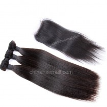 Malaysian virgin unprocessed natural color human hair wefts and 4*4 Lace Closure Yaki Straight 3+1 pieces a lot Hair Bundles 95g/pc [MVYK3+1]
