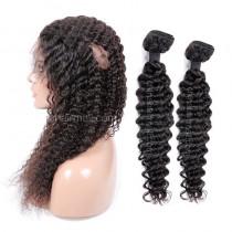 Peruvian Virgin Human Hair 360 Band Lace Frontal With 2 Bundles