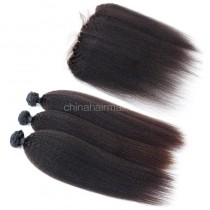 Peruvian virgin unprocessed human hair wefts and 13*4 Lace Frontal Kinky Straight 3+1 pieces a lot Natural Color Hair Bundles 95g/pc [PVKSLF3+1]