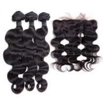Malaysian virgin unprocessed natural color human hair wefts and 13*4 Lace Frontal Body Wave 3+1 pieces a lot Hair Bundles 95g/pc [MVBWLF3+1]