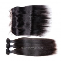 Malaysian virgin unprocessed natural color human hair wefts and 13*4 Lace Frontal Yaki Straight 3+1 pieces a lot Hair Bundles 95g/pc [MVYKLF3+1]