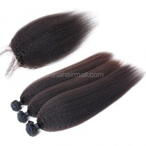 Brazilian virgin unprocessed human hair wefts and 4*4 Lace Closure Kinky Straight 3 +1 pieces a lot Hair Bundles 95g/pc [BVKS3+1]