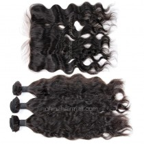 Peruvian virgin unprocessed human hair wefts and 13*4 Lace Frontal Natural Wave 3 +1 pieces a lot  Natural Color Hair Bundles 95g/pc [PVNWLF3+1]