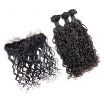 Peruvian virgin unprocessed human hair wefts and 13*4 Lace Frontal Loose Curl 3 +1 pieces a lot Natural Color Hair Bundles 95g/pc [PVLCLF3+1]