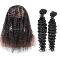 Brazilian Virgin Human Hair 360 Band Lace Frontal 22.5*4*2 Inch + 2 Bundles
