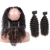 Brazilian Virgin Human Hair 360 Band Lace Frontal 22.5*4*2 Inch + 2 Bundles Water Wave