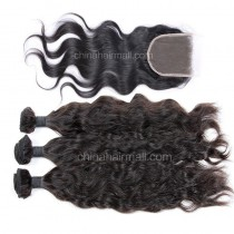 Brazilian virgin unprocessed human hair wefts and 4*4 Lace Closure Natural Wave 3 +1 pieces a lot Hair Bundles 95g/pc [BVNW3+1]