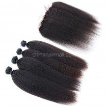 Peruvian virgin unprocessed human hair wefts and 13*4 Lace Frontal Kinky Straight 4+1 pieces a lot Natural Color Hair Bundles 95g/pc [PVKSLF4+1]