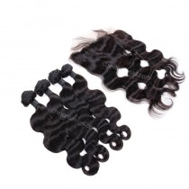 Malaysian virgin unprocessed natural color human hair wefts and 13*4 Lace Frontal Body Wave 4+1 pieces a lot Hair Bundles 95g/pc [MVBWLF4+1]