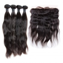 Malaysian virgin unprocessed natural color human hair wefts and 13*4 Lace Frontal Natural Straight 4+1 pieces a lot Hair Bundles 95g/pc [MVNSLF4+1]