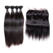 Malaysian virgin unprocessed natural color human hair wefts and 13*4 Lace Frontal Yaki Straight 4+1 pieces a lot Hair Bundles 95g/pc [MVYKLF4+1]