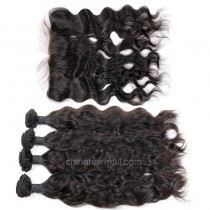 Malaysian virgin unprocessed natural color human hair wefts and 13*4 Lace Frontal Natural Wave 4+1 pieces a lot Hair Bundles 95g/pc [MVNWLF4+1]