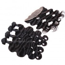 Peruvian virgin unprocessed human hair wefts and 13*4 Lace Frontal Body Wave 4+1 pieces a lot Natural Color Hair Bundles 95g/pc [PVBWLF4+1]