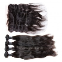 Peruvian virgin unprocessed human hair wefts and 13*4 Lace Frontal Natural Straight 4+1 pieces a lot Natural Color Hair Bundles 95g/pc [PVNSLF4+1]