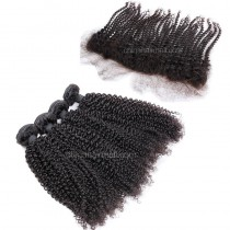 Malaysian virgin unprocessed natural color human hair wefts and 13*4 Lace Frontal Afro Kinky Curly 4+1 pieces a lot Hair Bundles 95g/pc [MVAKCLF4+1]