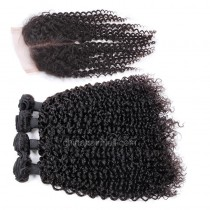 Brazilian virgin unprocessed human hair wefts and 4*4 Lace Closure Brazilian Curly 4+1 pieces a lot Hair Bundles 95g/pc [BVBRC4+1]