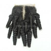 Brazilian Virgin Human Hair 4*4 Popular Lace Closure Funmi Curly Natural Hair Line and Baby Hair [BVFCTC]