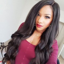 Glueless Full Lace Wigs Indian Remy Hair Side Part Loose Wave