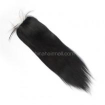 Brazilian Virgin Human Hair 4*4 Popular Silk Base Lace Closure Yaki Straight Natural Hair Line and Baby Hair [BVYKSTC]