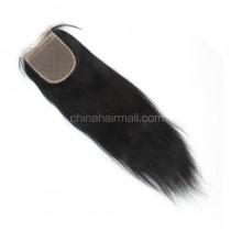 Malaysian Virgin Human Hair 4*4 Popular Silk Base Lace Closure Yaki Straight Natural Hair Line and Baby Hair [MVYKSTC]