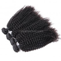 Malaysian virgin unprocessed natural color human hair wefts Afro Kinky Curly 4 pieces a lot  95g/pc  [MVAKC04]