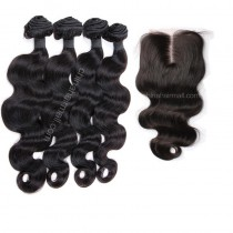 Malaysian virgin unprocessed natural color human hair wefts and 4*4 Lace Closure Body Wave 4+1 pieces a lot Hair Bundles 95g/pc [MVBW4+1]