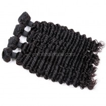 Malaysian virgin unprocessed natural color human hair wefts Deep Wave 4 pieces a lot  95g/pc  [MVDW04]
