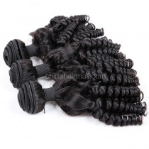 Peruvian virgin unprocessed natural color human hair wefts Funmi Curly 3 pieces a lot Hair Bundles 95g/pc [PVFC03]