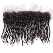 Malaysian Virgin Human Hair 13*4 Popular Lace Frontal Spiral Kinky Curly Natural Hair Line and Baby Hair [MVSKCLF]