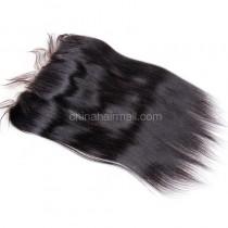Brazilian Virgin Human Hair 13*4 Popular Lace Frontal Yaki Straight Natural Hair Line and Baby Hair [BVYKLF]