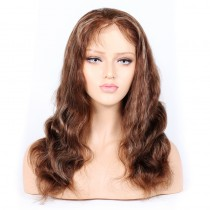 #4/27 Highlight Color Lace Front Wigs Indian Virgin Human Hair Body Wave [HLLFW01]
