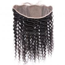 Malaysian Virgin Human Hair Popular 13*4 Lace Frontal with 4*4 Silk Base Kinky Curly Natural Hair Line and Baby Hair [MVKCSLF]