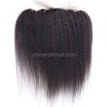 Malaysian Virgin Human Hair Popular 13*4 Lace Frontal with 4*4 Silk Base Kinky Straight Natural Hair Line and Baby Hair [MVKSSLF]