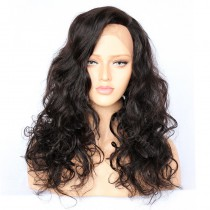 4.5inch Deep Part Lace Front Wigs Indian Remy Hair Buncy Wave