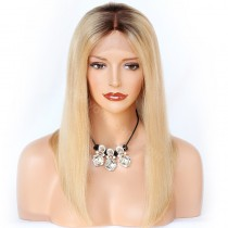 In Stock Yaki Straight Glueless Lace Front Wigs Peruvian Virgin Hair Ombre Brown Wigs