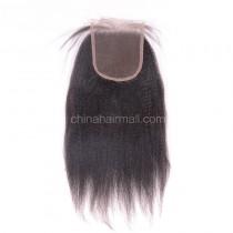Peruvian Virgin Human Hair 4*4 Popular Lace Closure Kinky Straight Natural Hair Line and Baby Hair [PVKSTC]