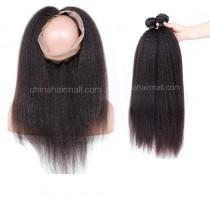 Peruvian Virgin Human Hair 360 Band Lace Frontal 22.5*4*2 Inch + 2 Bundles Kinky Straight