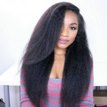 "150% Density Brazilian Virgin Hair Pre-plucked hairline 360 Lace Wig 22.5""*4.5""*2 Hand Tied with Wefts Top Kinky Straight"