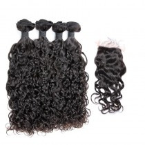 Brazilian virgin unprocessed human hair wefts and 4*4 Lace Closure Loose Curl 4+1 pieces a lot Hair Bundles 95g/pc  [BVLC4+1]