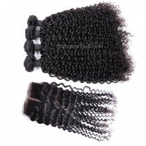 Peruvian virgin unprocessed human hair wefts and 4*4 Lace Closure Brazilian Curly  4 +1 pieces a lot Natural Color Hair Bundles 95g/pc [PVBRC4+1]