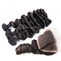 Peruvian virgin unprocessed human hair wefts and 4*4 Lace Closure Romance Curly 3 +1 pieces a lot Natural Color Hair Bundles 95g/pc [PVRC3+1]