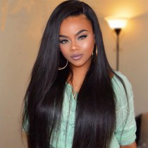 Full Lace Wigs Malaysian Virgin Hair Yaki Straight Side Part