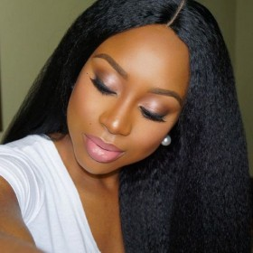 Lace Front Wigs Brazilian Virgin Human Hair Kinky Straight Middle Part [LFW076]
