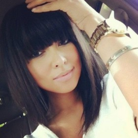 Lace Front Wigs Indian Remy Hair Full Bangs Bob Yaki Straight [LFW073]