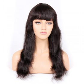 {7working days processing time}Indian Remy Hair Full Bangs Natural Straight Glueless Silk Top Non-Lace Wig [STNLW05]