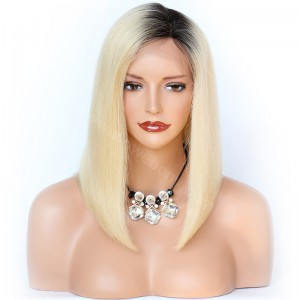 In Stock Glueless Lace Front Wigs Peruvian Virgin Hair Yaki Straight Ombre Blonde Wigs [OMBREL017]