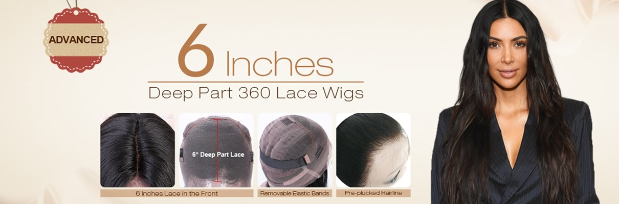 6 Inches Deep Part 360 Lace Wigs