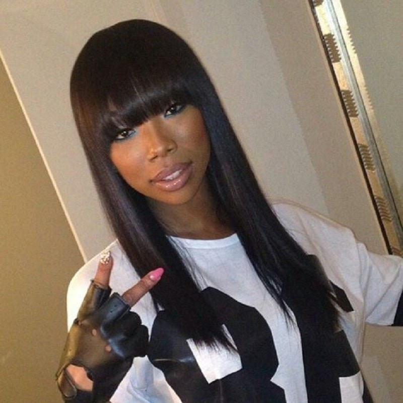 Lace Front Wigs Indian Remy Hair Full Bangs Yaki Straight Baby Hair