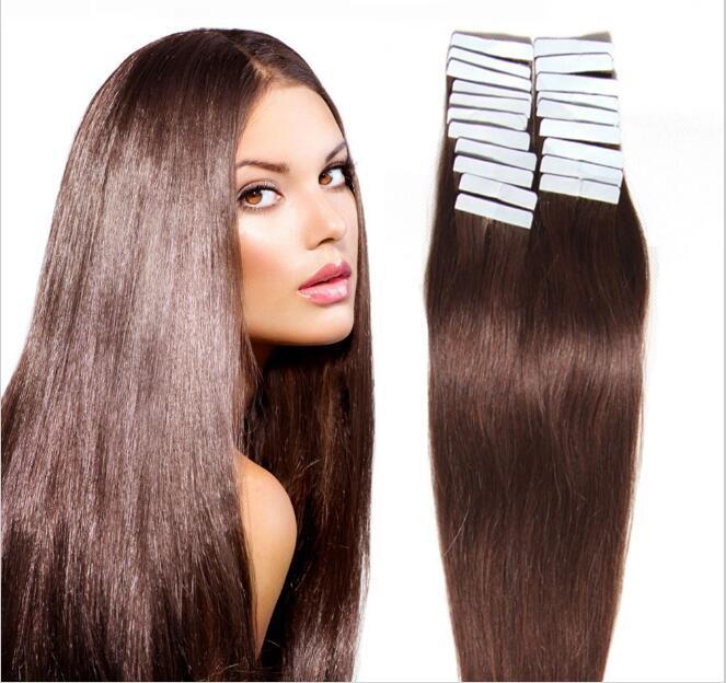 Seamless Tape In Hair Extensions In Virgin Remy Human Hair Dark